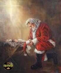 """Vamos colocar os pingos nos """"Is"""": Papai Noel se ajoelha diante do Rei do Universo."""