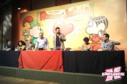 Flávio Teixeira, Raquel Rosa, Fause Haten, Mauricio de Sousa, Mauro Sousa, Marcelo Souza e Paulo Corrêa em coletiva realizada no dia 30 de abril.