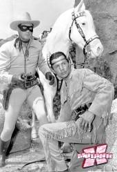 Os atores Clayton Moore e Jay Silverheels na série de TV de 1949.
