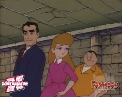 Dr. Steel, Marie e Gaby na tumba de Fantomas