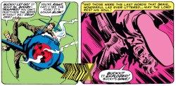 O momento fatal de Bucky, na arte dramática de Jack Kirby