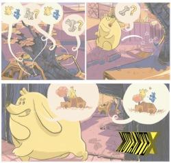Diálogos são visuais e lúdicos - e Bugu, pra variar, leva seu chute no traseiro.