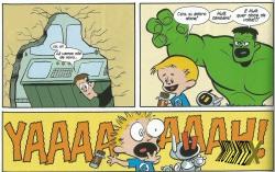 Momento hilário: Franklin e Hulk brigando por uma barra de chocolate.