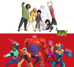 Os Big Hero 6: antes e depois
