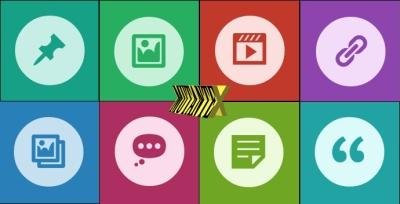 Postagens identificadas por ícones e cores