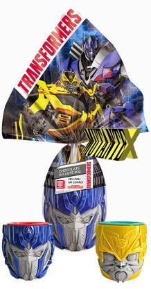 Ovo Transformers 90g tem copos nas versões Optimus Prime e Bumblebee