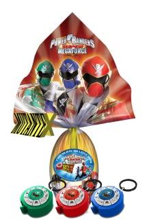 O ovo dos Power Rangers traz um projetor em diferentes cores.