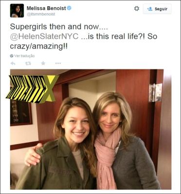 Super encontro: duas gerações de Supergirls. Só faltou a atriz Laura Vandervoort. :-)