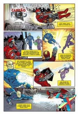 Uma das páginas da HQ, estrelada pelo Capitão R.E.D.