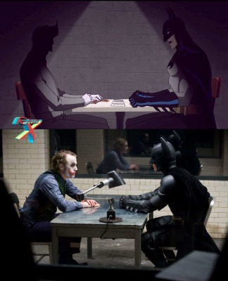 Cena da HQ é reproduzida na animação e roteiro também serviu de inspiração para o filme O Cavaleiro das Trevas (2008)