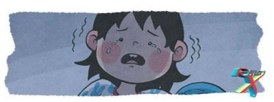 Mônica chora por causa de um problema que são sabe como resolver