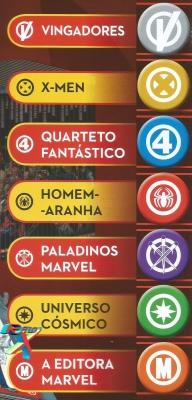 Informações separadas por categorias de heróis, identificados pelos logotipos.