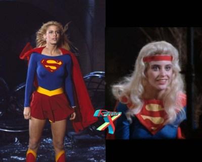 Versão cinematográfica. à direita um teste de cena da atriz com roupa similar à dos quadrinhos que... bem, esqueça.