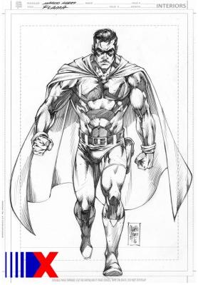 Sketch do herói Flama, no lápis de Márcio Abreu